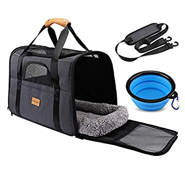 morpilot Pet Carrier Bag, Portable Cat Carrier Bag Top Opening, Removable Mat and Breathable Mesh, Transport Bag for Dogs and Cats, Free Shoulder Strap and Pet Bowl