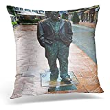 Decorative Pillow Cover Oviedo Spain August 5 Statue of Woody Allen in on It is Tribute to That Won The Prince Asturias Award Throw Pillow Case Square Home Decor Pillowcase 18x18 Inches/45x45cmes