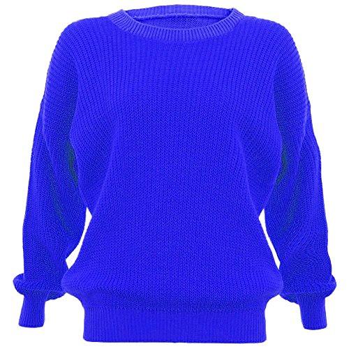 Janisramone femmes tricot chunky surdimensionné bouffant manches longues plaine Jumper BLEU ROYAL