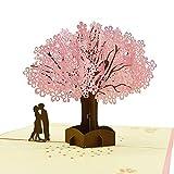 KANKOO Blessings Grußkarten Romantische Kirschblüten Baum Szene Postkarte Party Hochzeitsdekoration Exquisite Umschlag