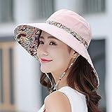 MEI XU Draussen Wide-Krempe Frauen Sonnenhut Weiches Tuch Falten Sonnenschirm UV Atmungsaktiv mit Seil Outdoor-Reise Lässig Hut (5 Farben Optional) ## (Farbe : Light Pink)