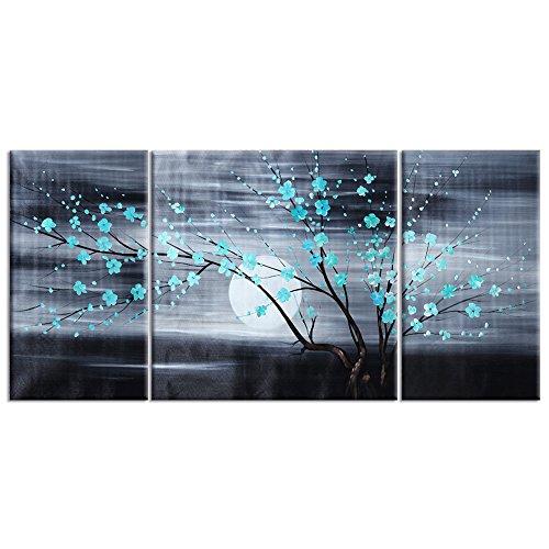 Raybre Art® 100% Pintada a mano sobre Lienzo Cuadro Pintura al óleo Aurora Árboles Cuadros de Flores del ciruelo Vintage Cuadros Grandes Paisajes Natural de Luna para Arte Pared Decoración Hogar Restaurante, Sin marco (colores