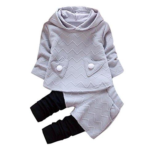 Kobay Kleinkind Kinder Baby Mädchen Outfits Lange Ärmel Kapuzen-T-Shirt Tops + Hosen Kleidung Set (90/2Jahr, Grau) Kapuze Hose Top