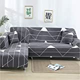 ZLULU Sesselbezug schonbezug sofa Linie Geometrische Druck Multifunktions-Stretch-Strick Sofa Abdeckung All-Inclusive Anti-Rutsch-Vollabdeckung Sofa-Bezug, 3-Sitzer