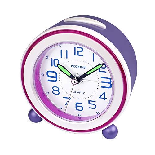 Analoger Wecker, Mini Nicht Tickendes Bett Reise Silent Wecker mit Lautem Alarm, Nachtlicht, Snooze, Batteriebetriebene Weckuhr