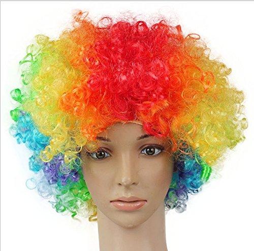 Dosige Fanático del fútbol Peluca de payaso Peluca de pelo adultos adulto mascarada partido del pelo de Halloween Navidad Cosplay sombrero traje peluca(Coloreado)