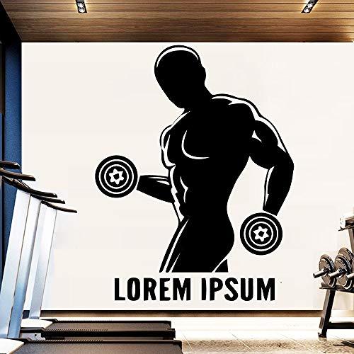 TYLPK Klassische sport mann vinyl aufkleber wandaufkleber pvc aufkleber diy für fitnessraum dekoration zubehör adesivi murali gelb l 42 cm x 54 cm