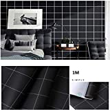 PVC Fond d'écran - Fond d'écran Peel bâton auto-adhésif contact papier décoratif Countertops Cabinet Armoire Meubles amovible Papier peint étanche, 1m noir