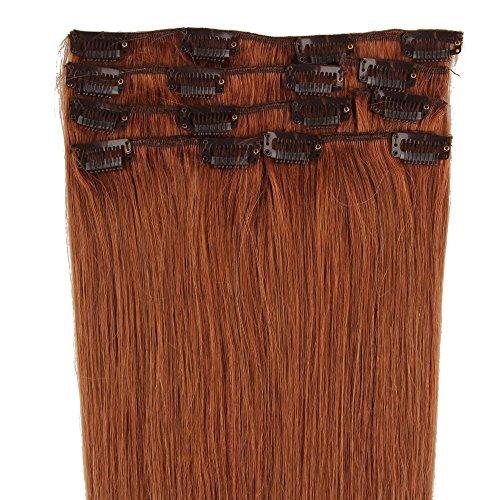 Beauty7 Extensions de cheveux humains à clip 100% Remy Hair 30# Couleur Auburns Clair Longueur 50 cm Poids 70 grams
