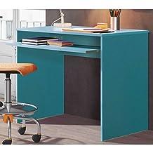 Mesa de estudio y ordenador azul de 90x60 cm y 79 cm de alto