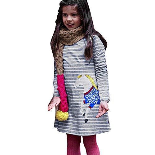 OVERDOSE Kleinkind Baby Mädchen Kind Herbst Kleidung Pferd Print Stickerei Prinzessin Langarm T-Shirts Party Kleid Mini Kleid (3T, D-Gray)