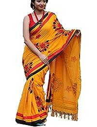 Tant Ghar Women's Cotton Hand Loom Applique Sarees With Applique Blouse (YELLOW) HA-10