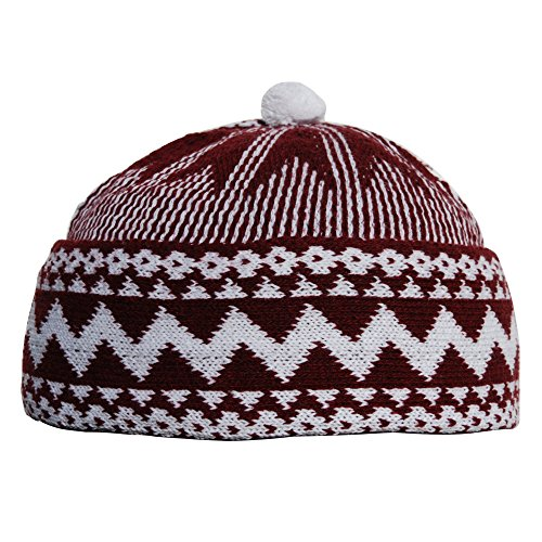 75ae9b9dcca Marrone Zigzag Design Muslim Beanie Kufi Hat Crown W White Ball – Taglia  Unica