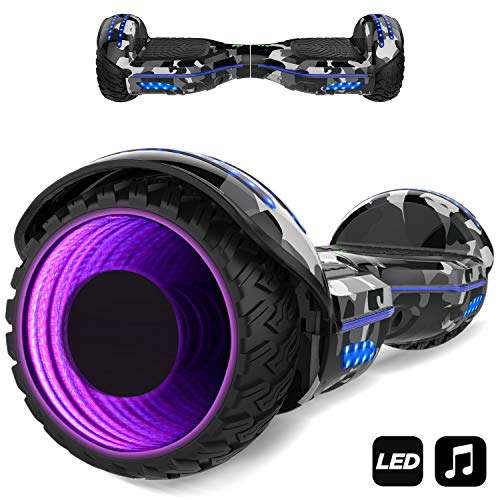 MARKBOARD Hover Scooter Board Elektro Scooter 6,5 LED E-Balance E-Skateboard Elektroroller Bluetooth LED (Armeegrün1)