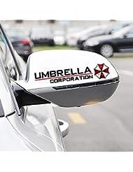 """KaLaiXing® Reflektierende Aufkleber für die Seitenspiegel, 2 Stück, Resident Evil-Motiv, """"Umbrella Corporation"""", für Auto, Motorrad Fahrrad, Schwarz"""