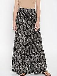 Desi Weaves Womens Cotton Palazzo Trouser (DS_3_Black_Small)