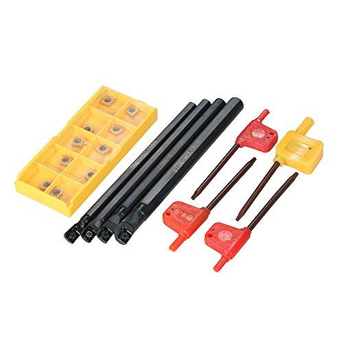 KKmoon 10 teile / schachtel CCMT060204-HM Hartmetalleinsätze + 6/7/8 / 10mm SCLCR06 Halter Bohrstange + 4 stücke Schraubenschlüssel CNC Drehmaschine Drehwerkzeug