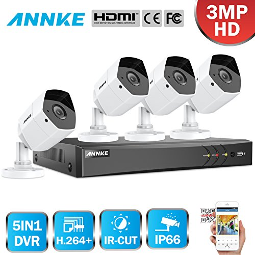 ANNKE-Kit-de-seguridad-30MP-8CH-DVR-y-4-Cmaras-Metal-de-vigilancia-3MPH264-CCTV-Cmara-IR-CUT-Deteccin-de-movimiento-IP66-InteriorExterior-sin-HDD
