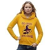 TWISTED ENVY Damen Kapuzenpullover so Cute It's Scary Print X-Large Gelb