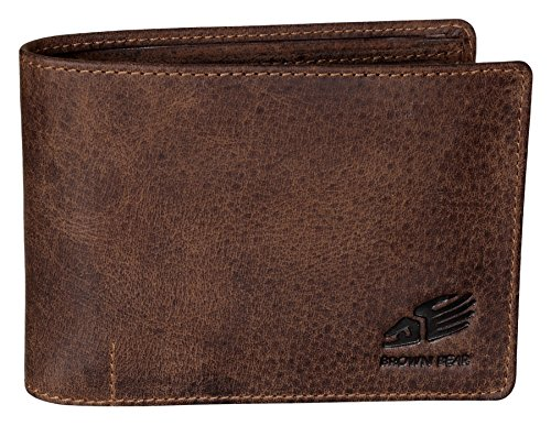 Brown Bear Geldbörse Herren Leder Braun Quer-Format RFID Schutz Vintage Used-Look hochwertig Cooles Design Männer Geldbeutel Portemonnaie Portmonee Portmonaise Ledergeldbeutel Ledergeldbörse