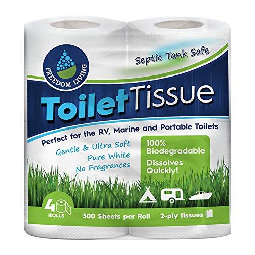ilettenpapier (2-lagig, 4Rollen) für Wohnmobile, Camping und Boote, biologisch abbaubar. Natürliche Alternative zu Chemikalien für die Behandlung von Klärtanks, Reinigungsmitteln, Enzymen und Chlortabletten. ()