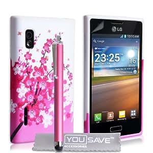 LG Optimus L5 E610 Zubehör Tasche Silikon Gel Blumen Biene Hülle - Rosa / Weiß Mit Griffel Stift