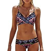 Luckycat Mujeres Bohemias Oblicua Acolchado Traje De Baño Bikini Monokini Beachwear