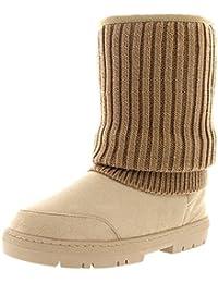 Mujer Cardy De Punto Corta Invierno Lluvia Al Aire Libre Zapato Botas