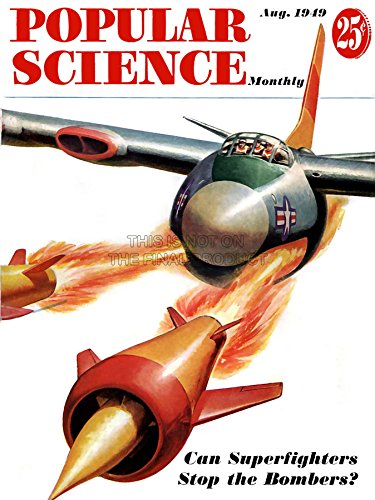 1949-magazin (MAGAZINE COVER 1949 POPULAR SCIENCE SUPERFIGHTER PLANE BOMBS POSTER PRINT 18x24 INCH LV1779)