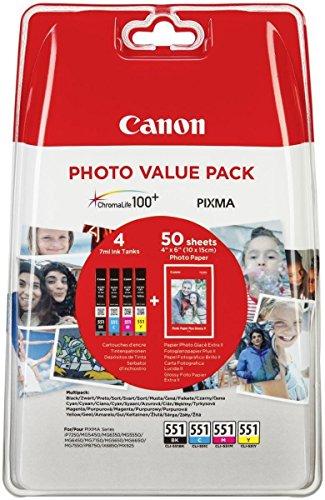 Preisvergleich Produktbild CANON CLI-551 Vorteilspack Blister 4x6 Foto Papier PP-201 50 Blatt + Cyan Magenta Gelb & Schwarz Tintentanks
