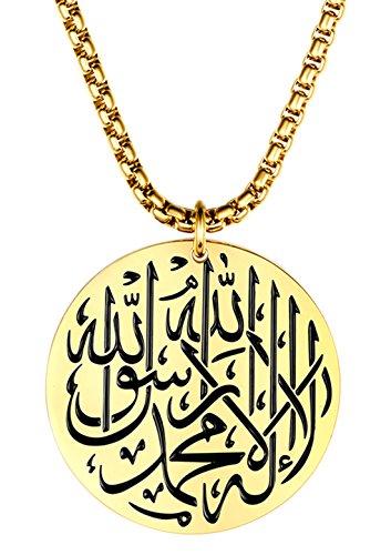 ALEXTINA Herren Edelstahl Runden Muslim Junggeselle Islam Gott Anhänger Halskette mit Kette Gold