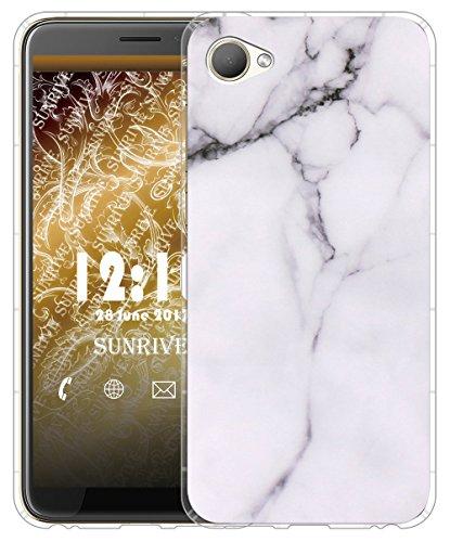 Sunrive Für HTC Desire 12 Hülle Silikon, Transparent Handyhülle Luftkissen Schutzhülle Etui Case für HTC Desire 12(TPU Marmor Weißer)+Gratis Universal Eingabestift