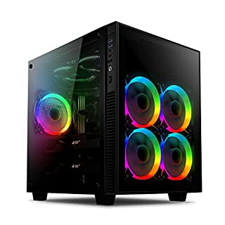 anidees AI-Crystal-CUBE-AR ATX Stahl / Gehärtetes Glas Cube Gaming PC Gehäuse Unterstützung E-ATX / ATX, 280/240 Kühler inklusive 5 x 120 RGB Lüfter - Schwarz (RGB Version)