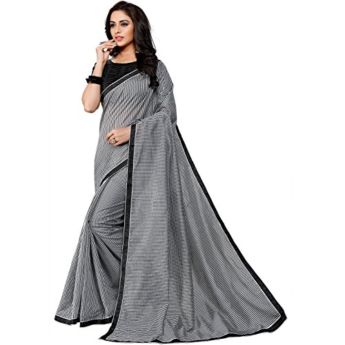 Pramukh Suppliers Women's Checkered Printed Cotton Silk Sarees With Blouse Piece(NAVNEET_BLACK) (Black...