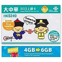 China Unicom - China, Hong Kong, Macau, Taiwan 3G / 4G Prepaid Internet SIM-Karte (nur Daten) - 6GB Daten (danach reduziert auf 128kbps) - 30 Tage - REGISTRIERT FREI