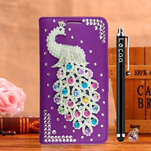 Locaa(TM) For Apple IPhone SE IPhoneSE 5SE 3D Bling Paon Case Fait filles Main Cuir Qualité Housse Chocs Retour Bumper Cases Cas Couverture Protection Cover Shell [Série Paon 2] Violet - Paon Perle Violet - Paon Perle
