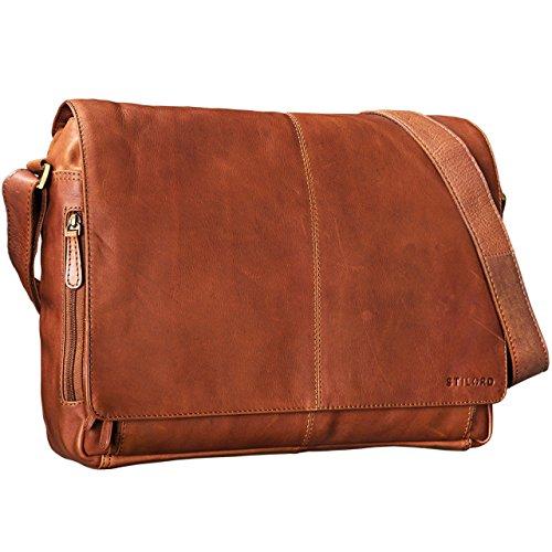 STILORD Vintage Ledertasche Männer Frauen Businesstasche zum Umhängen 15,6 Zoll Laptoptasche Aktentasche Unitasche Umhängetasche Leder, Farbe:cognac - braun