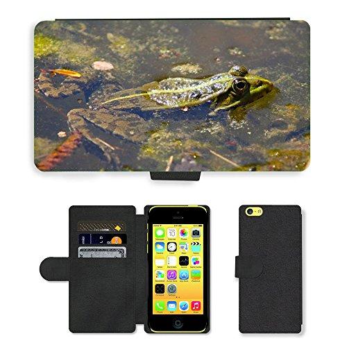 Just Mobile pour Hot Style Téléphone portable étui portefeuille en cuir PU avec fente pour carte//m00139039Nature Animaux bassin amphibiens Grenouille//Apple iPhone 5C