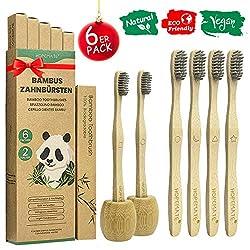 6er Pack Bambus Zahnbürsten + 2 Zahnbürstenhalter, Vegan Holzzahnbürste für Beste Sauberkeit, 100% BPA frei Bambuszahnbürste mit weich Bambuskohle Borsten, Verschieden Marker und Recycelbar Packung