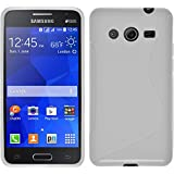 Funda de silicona para Samsung Galaxy Core 2 - S-Style blanco - Cover PhoneNatic Cubierta + protector de pantalla