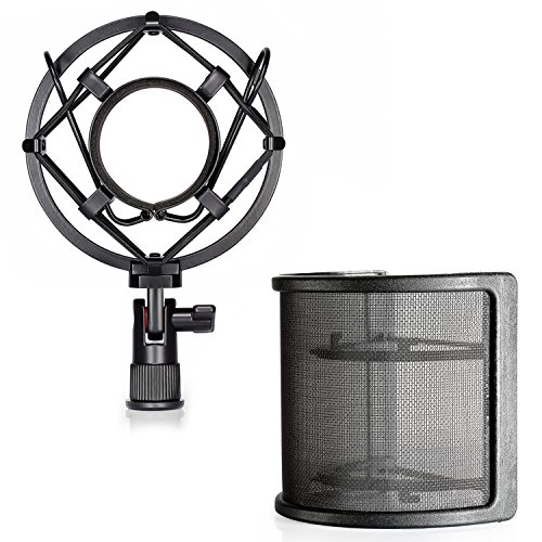 Neewer Mikrofon-Schock-Befestigung mit Masken-Schild Mikrofon Windschutzscheibe Pop-Filter, Anti-Vibrations-Aufhängung Schock Montage Halter Clip für Durchmesser 46MM-53MM Mikrofon