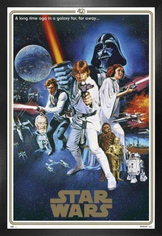 Star Wars Póster con Marco (Madera DM) - 40 Aniversario, Cartel De Cine B (91 x 61cm)