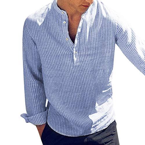 n Mens Casual Leinen Knopf Einfache Langarm Streifen Lose T-Shirt Bluse Top Langärmliges Baumwolloberteil mit gestreiften Knöpfen ()