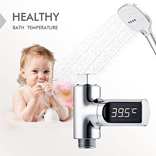 Duschthermometer,Baban Badethermometer,Wasserkraft Generation Wassertemperaturregler, 360 ° drehbarer, wasserdichter digitaler LED-Bildschirm - Celsius,für Kinder ältere Leute Haustiere,Duscharmatur und Brauseschlauch 1/2 Zoll