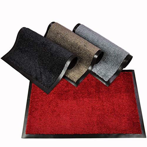WohnDirect Fußmatte für Innen mit Rand - Schmutzfangmatte für die Haustür - rutschfest und waschbar - Fussmatte in versch. Größen - Door Mat - 50x70 cm - Rot
