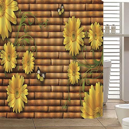 seblümchen und Schmetterlinge Duschvorhang, Gelb Vorhänge wasserdicht wasserdicht Polyester Stoff Wohnaccessoires mit Haken 180 * 150 cm ()