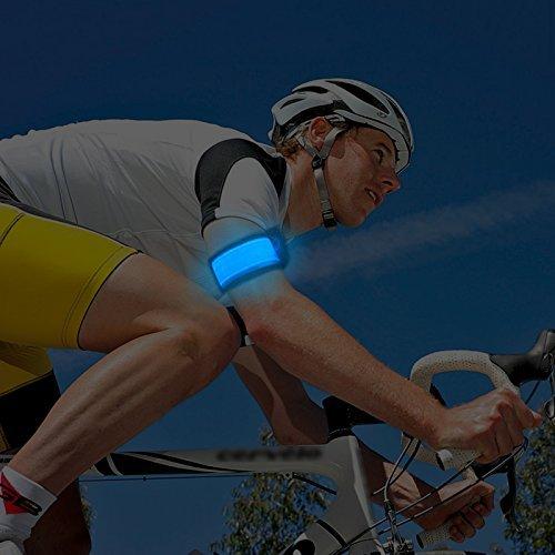 Acxeon 2 Stück Packung - LED Sicherheits Slap Armbänder Reflektierende LED Armbänder für Radfahren, Jogging, Laufen (Blau)