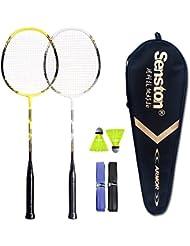 Senston Sets de badminton Graphite raquette de badminton - Y compris 1 badminton sac/2 volants de badminton/2 raquette de badminton/2 surgrip
