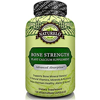 NATURELO Bone Strength - with Plant Calcium, Magnesium, Vitamins C, D3, & K2 - Best Whole-Food Supplement for Bone Health - 120 Vegetarian Capsules by NATURELO