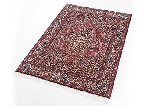 Orientteppich Bidjar Perserteppich Nasrin handgeknüpft Wohnzimmer Wolle in Rot, Größe: 67x100 cm -
